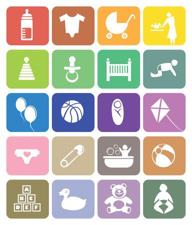 balon baloncesto: Iconos vectoriales de colores en el beb� y el tema de crianza. Aislado en el fondo blanco Vectores