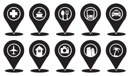 coffe tree: Isolated vector Icon set on Map Markers for Travel and Transport Services in black and white. Illustration
