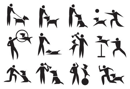 dog run: Black and white vector icon set on dog training Illustration
