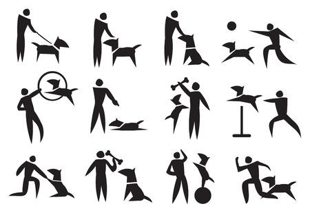 Blanco y negro conjunto de iconos de vectores en el entrenamiento del perro Vectores