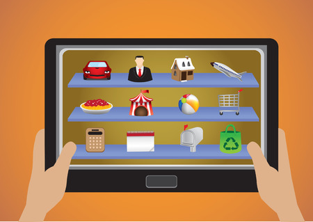 Vector illustration of hands holding a mobile tablet with many colorful app icons Vector