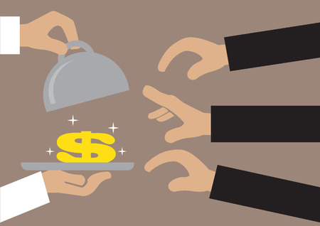 easy money: Vector illustration of a pair of hands opening the lid of a metal tray to reveal a sparkling golden dollar sign and many hands reaching to get it. Concept for monetary attraction