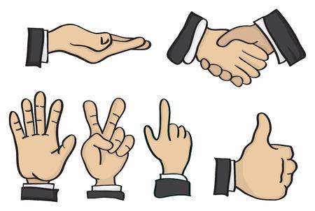 Vector illustration of cartoon hands in different hand sign gestures Illustration