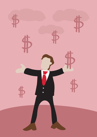 quick money: Vector illustration of a rich happy man in business suit receiving money represented by dollar signs falling from sky with open arms