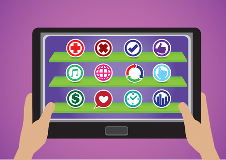 Vector illustration of hands holding a mobile tablet with colorful round symbols as app icons. Isolated on purple background. Vector