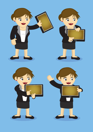 Vector illustration of a woman in formal suit holding a digital tablet for presentation. Blank area in digital tablet for copy space. Vector