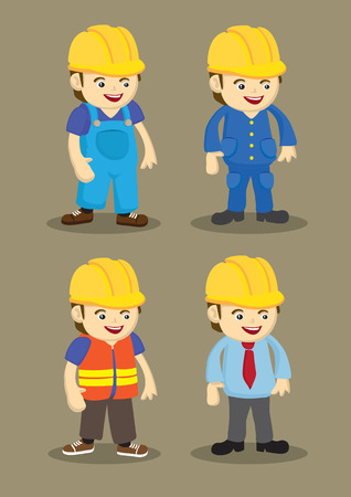 workwear overall: Vector character design of workers and professionals wearing yellow helmet in building and construction industry.