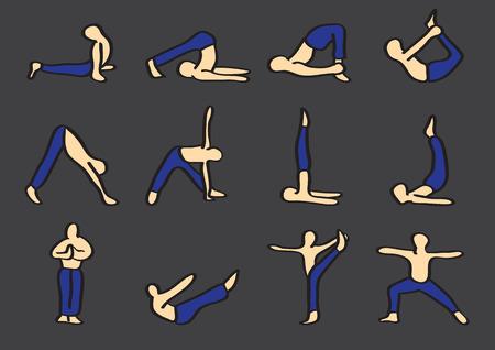 Vector illustration of cartoon figure performing traditional hatha yoga asanas. Vector
