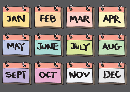 Vector illustration of cartoon monthly calendar to be used as icons