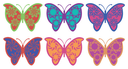 Set of colorful butterflies with fanciful floral pattern wings vector design isolated on white background