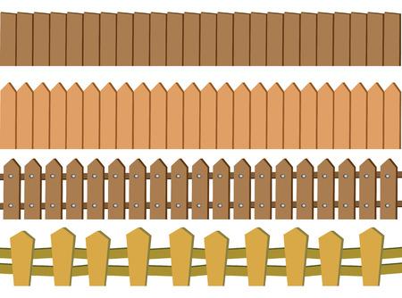 Ilustración vectorial de diseño de la cerca de madera rústica sin fisuras aisladas sobre fondo blanco Foto de archivo - 32885198