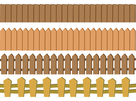 Vector illustration of seamless rustic wooden fence design isolated on white background Çizim