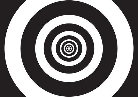 circulos concentricos: Ilustración del vector de círculos concéntricos en blanco y negro con efecto de la ilusión óptica, como un túnel de luces
