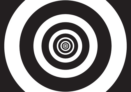 Vector illustration of black and white concentric circles with optical illusion effect, like a tunnel of lights