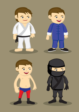 kungfu: Vector illustration of mens attire and outfit for martial arts, Karate, chinese kungfu, wrestling, japanese ninja Illustration