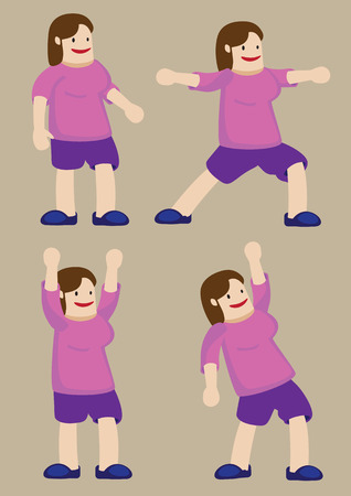 plus size: Vector illustration of a plus size woman doing stretches and exercise poses. Cartoon character isolated on plain background Illustration