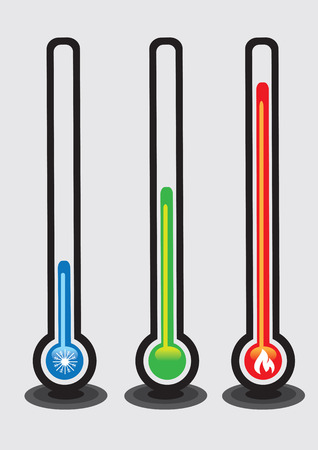 cold room: Set of three mercury-in-glass thermometers with colors and symbols to show hot, cold and room temperature. Vector illustration isolated on grey plain background