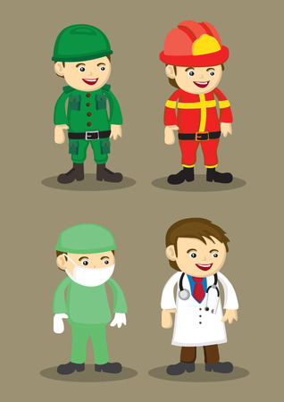 Soldier, firefighter, Surgeon and Doctor in uniform and work attire. Professionals and occupations vector illustration isolated on brown plain background Vector