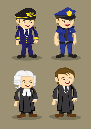 airline pilot: Pilot, Policeman, Judge and Lawyer in uniform and work attire. Professionals and occupations vector illustration isolated on brown plain background