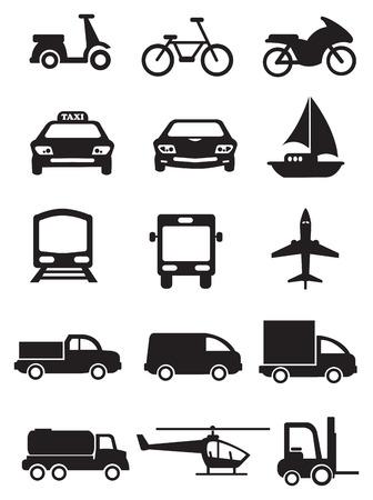 mode of transportation: Icone vettoriali di veicoli per la diversa modalit� di trasporto. Icone nere isolate su sfondo bianco. Vettoriali