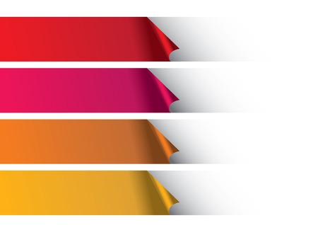 pancarta: Peeling de fondo blanco para revelar filas de tiras de papel de colores c�lidos. Dise�o de fondo abstracto del vector. Vectores