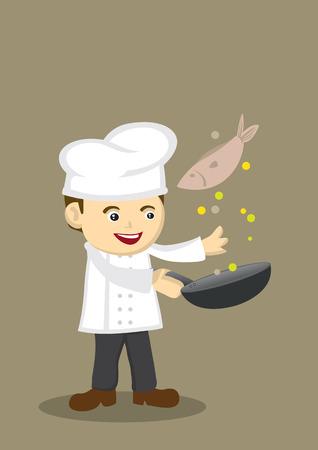 fullbody: Ilustraci�n vectorial de un chef de dibujos animados feliz lindo con una sart�n lanzando un pez.