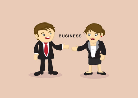 Cute cartoon business partners with eye contact and reaching out arms for presentation. Vector illustration isolated on plain background with copy space Vector