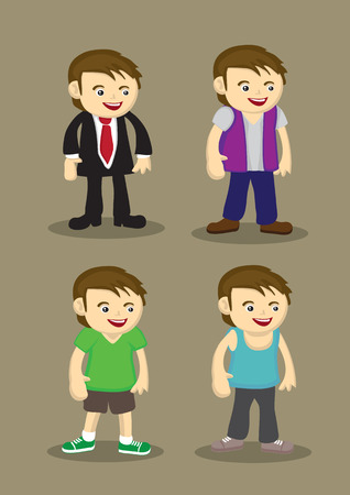 Cute cartoon man in formal suit, casual streetwear and sporty attire. Vector character illustration isolated on brown plain background