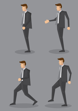 from side: Side view of business executive in full suit with grey necktie in four different poses. Vector character illustration isolated on grey plain background. Illustration