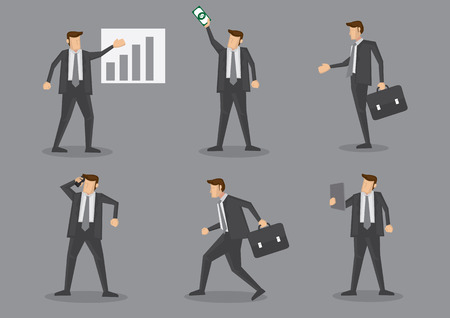 Business executive with chart, money, briefcase, mobile phone and digital tablet. Set of six vector characters isolated on grey plain background Vector