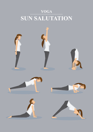 Collection of all asanas in Surya Namaskara. Vector illustration of female character in profile view isolated on grey plain background. Vettoriali