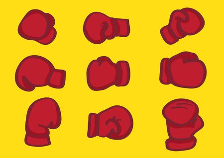 guantes de boxeo: Ilustraci�n vectorial de los guantes de boxeo rojos en diferentes puntos de vista aislado en fondo amarillo