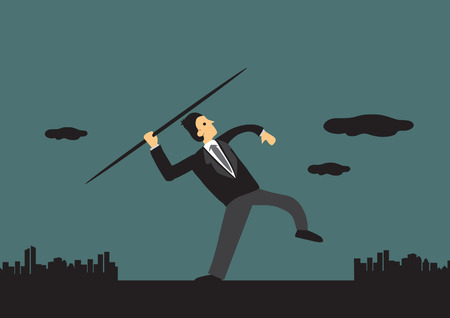 achiever: Man in business suit aiming high and getting ready to throw a spear or javeline. Business metaphor vector illustration.