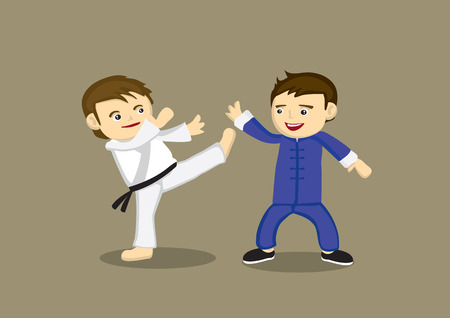 Cute cartoon characters fighting in different martial arts style, Japanese Karate high kick and Chinese Kung fu. Vector illustration isolated on plain background Vector