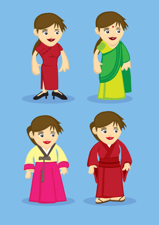 korean national: Set of four cartoon characters in traditional asian national outfits, Chinese cheongsam, Indian Sari, Korean Hanbok and Japanese Kimono isolated on blue plain background