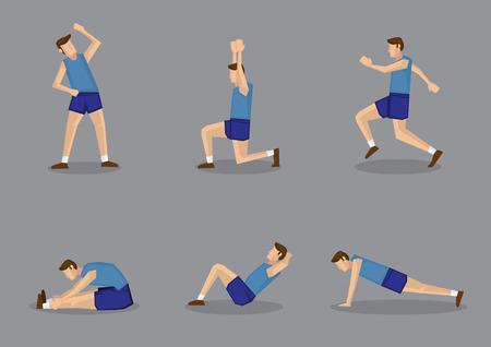 Hombre deportivo en camiseta azul y pantalones cortos haciendo estiramientos y ejercicios de calentamiento. Conjunto de ilustración vectorial aislado sobre fondo gris. Foto de archivo - 33491865