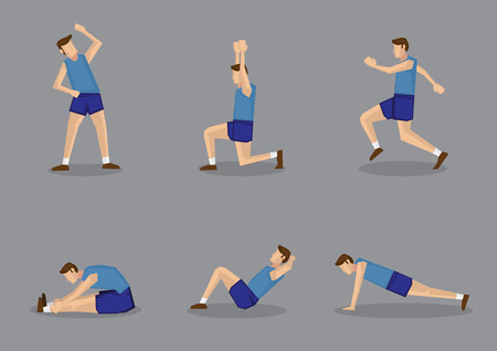 man full body: Sporty man in blue singlet and shorts doing stretching and warming up exercises. Vector illustration set isolated on grey background.