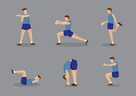 Sporty man in blue singlet and shorts doing stretches and warm-up exercises. Vector illustration set isolated on grey background. 向量圖像