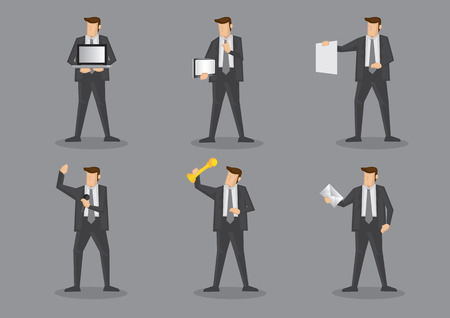 envelop: Businessman in grey suit and necktie with different work equipment and office supplies. Vector illustration set isolated on grey plain background. Illustration