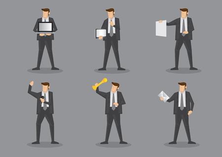 equipos trabajo: Hombre de negocios en traje gris y corbata con diferentes equipos de trabajo y equipos de oficina. Conjunto de ilustraci�n vectorial aislado sobre fondo gris claro.