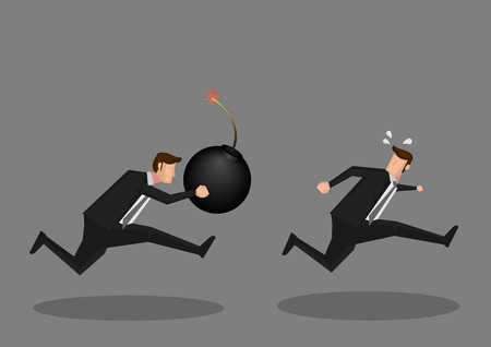 ignited: Vector illustration of a frightened businessman running away from a aggressive businessman with a ignited giant bomb