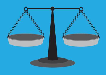 昔ながらの 2 つの等しい腕ビームとスケールの重量を量る中断分散鍋青の無地の背景に分離