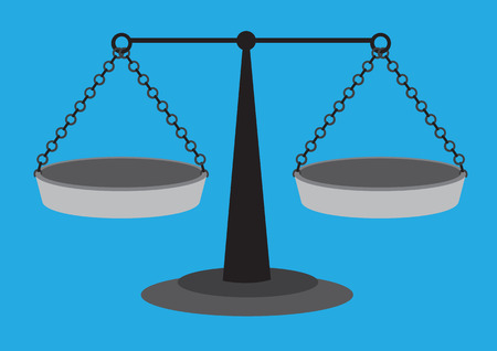 balancing: Old fashion weighing scale with equal arm beam and two suspended balancing pans isolated on blue plain background
