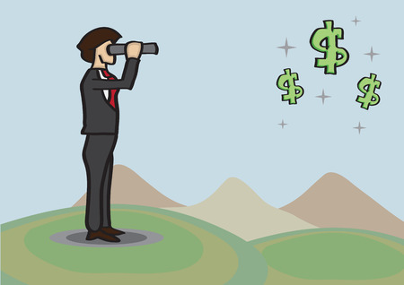 afar: Man in business suit, standing in golf course and holding telescope, spots money opportunities represented by stars and dollar signs in skies afar. Conceptual vector cartoon illustration for business metaphor. Illustration
