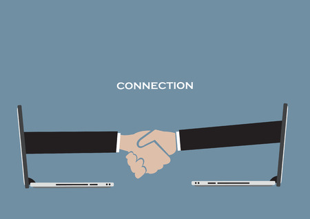 Vector illustration of arms coming out from wireless mobile laptops for business handshake. Concept for using technology for virtual business connection. Vector