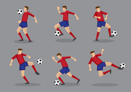 premier league: Collection of different poses of soccer player in red jersey with soccer ball. Vector illustration isolated on grey background.