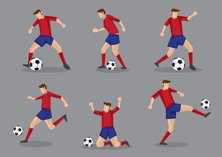 player: Soccer player passing and dribbling soccer ball. Vector illustration isolated on grey background.