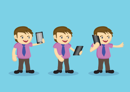 short sleeved: Cute cartoon male character in short sleeved shirt and necktie using digital tablet in different ways. Set of three vector illustration isolated on blue.