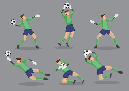 premier league: Six poses of goalkeeper in green jersey handling soccer ball. Vector character icons isolated on grey background.