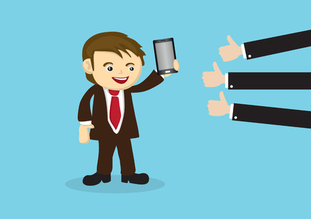 Salesperson showing off smart phone and many thumbs-up reviews at the side. Business conceptual vector illustration isolated on blue background. Illustration